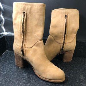 Frye Addie Women's Mid-Boot Sand Beige Leather 8